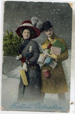 Geschenke Weihnachten Frau.Weihnachten Frau Mann Hut Geschenke Baum