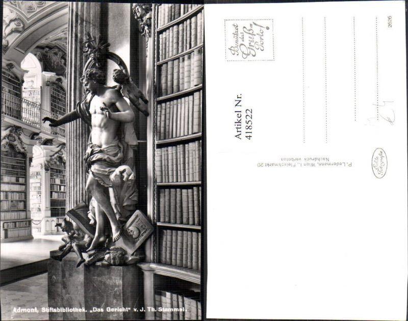 Foto Ak Stiftsbibliothek Admont Bibliothek Das Gericht Statue v. J. Th. S