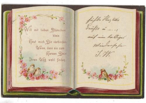 Spruch Karte Vögel Spruch Blumen Verziert