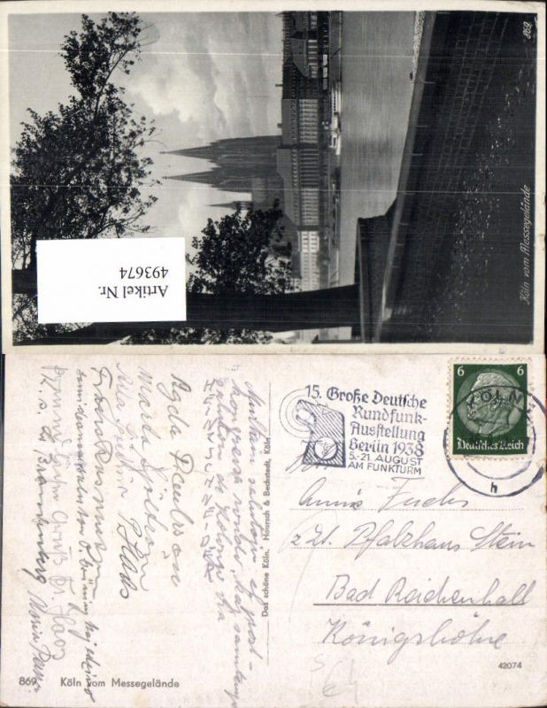 Stempel 15 Gr. Deutsche Rundfunk Ausstellung Berlin 1938 Funkturm