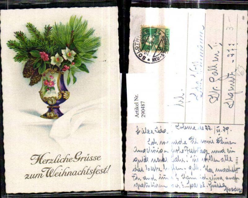 Künstler Ak Weihnachten Vase m. Tannen Kiefer Zweigen Christrose Zapfen p