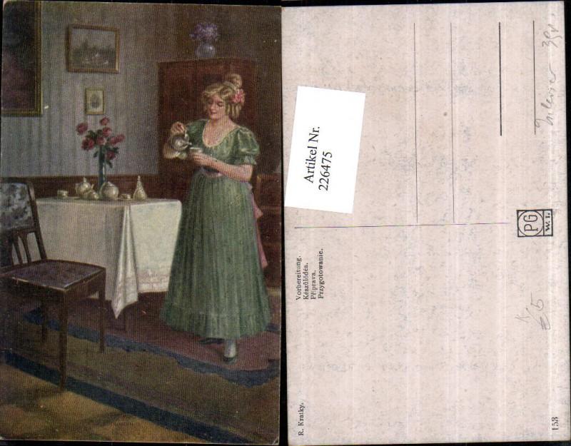 Künstler AK R. Kratky Vorbereitung Frau m. Kleid Tassen Tisch Sessel