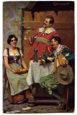 H.K. M Serie 377 V. Schivert sign. Frau Männer Wein
