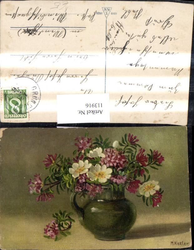 Künstler Ak M. Kistler Blumenvase Vase m. Blumen