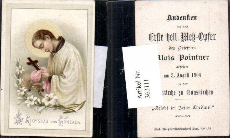 Andachtsbild Heiligenbildchen St Aloysius von Gonzaga Messopfer Pointner