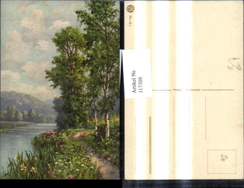 Künstler Ak Flusslandschaft Landschaft