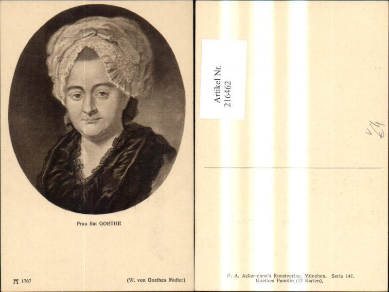 Künstler Ak Frau Rat Goethe Mutter v. Wolfgang v. Goethe Portrait pub F.