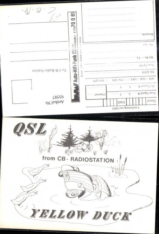 QSL CB Karte Yellow Duck Auto Enten
