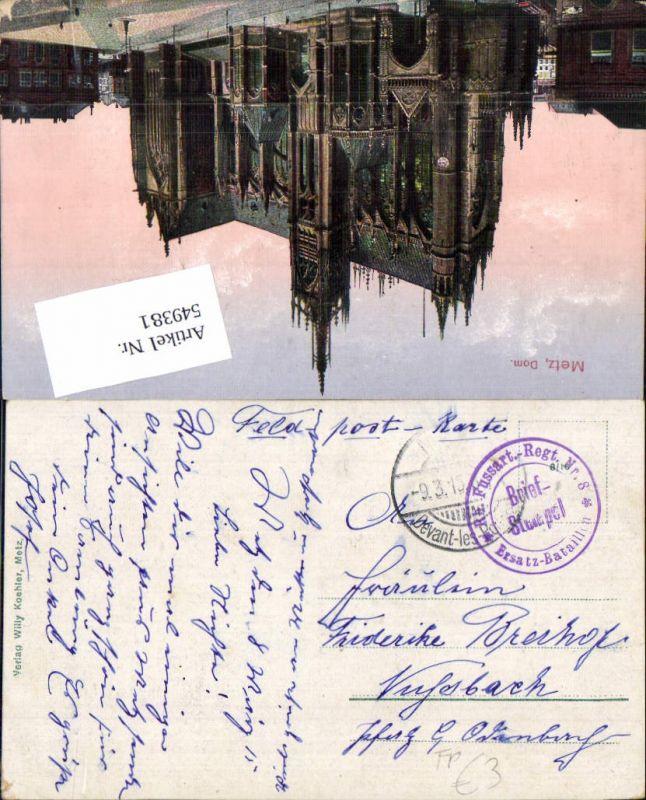 Deutsche Feldpost Rh. Fussart. Reg. 8 n. Viehbach Odenbach