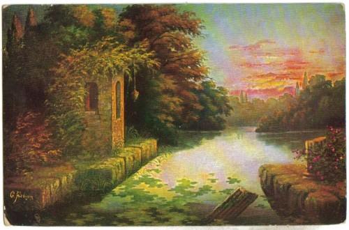 8794;Künstlerkarte Firbiger Sign. Schöne Uferansicht