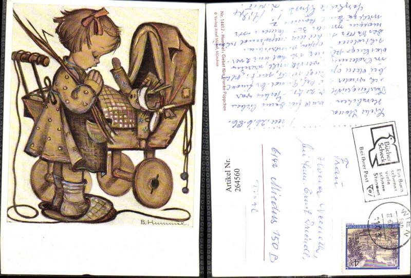 Künstler Ak Berta Hummel 14412 Gebet fürs kranke Püppchen Mädchen m. Pupp