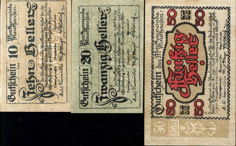 3 Scheine Notgeld Mauthausen Heller 10,20,50
