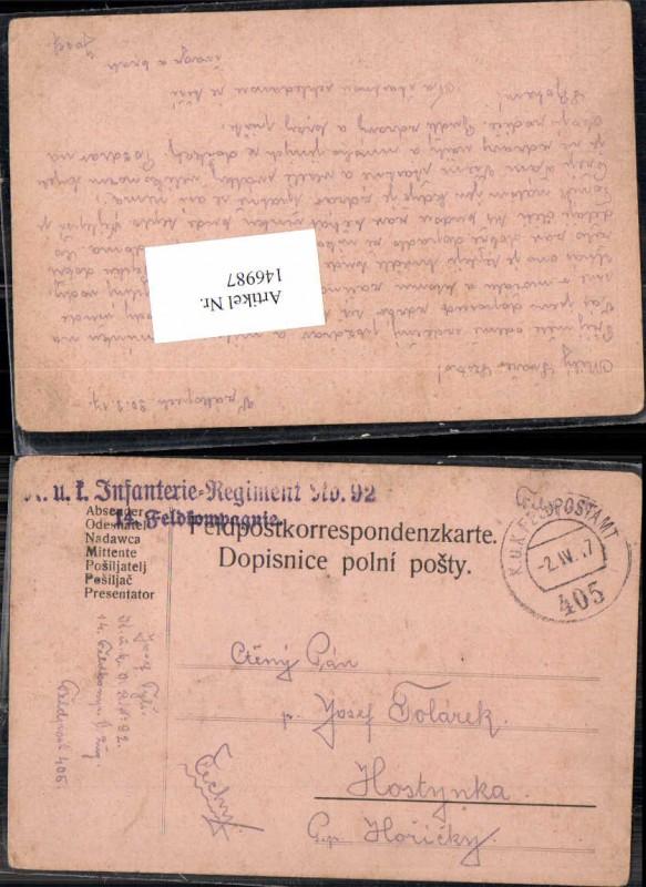 K.K. Feldpost Infanterie Reg. 92 FP 405 n. Hostynka JOsef Tyls