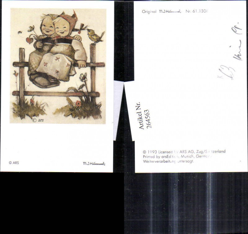 Künstler Ak Berta Hummel 611308 Mädchen sitzen a. Holzzaun Vogel