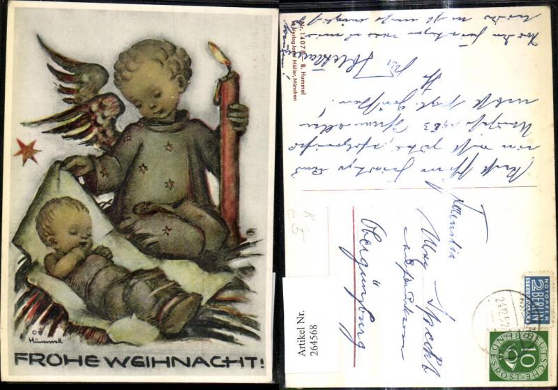 Künstler Ak Berta Hummel 14078 Engel m. Kind Brennender Kerze Weihnachten