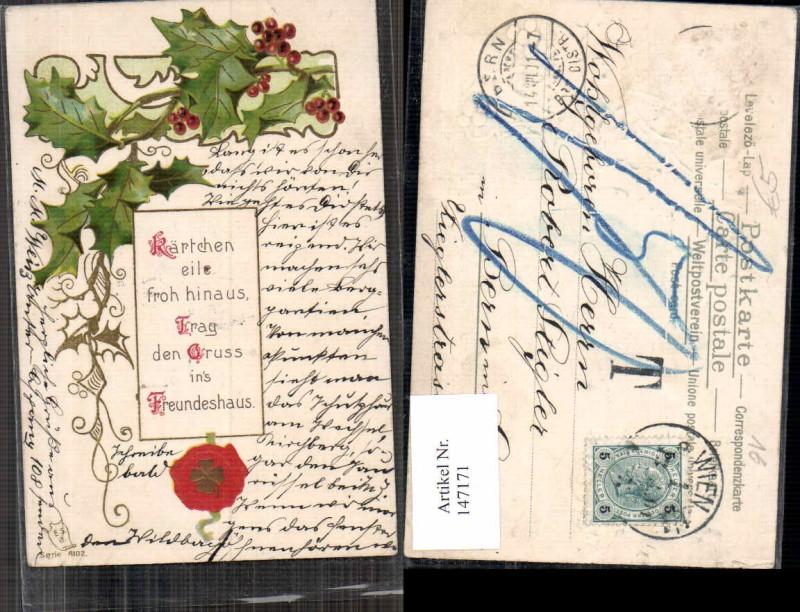 Präge Litho Siegel Neujahr Distel 1900