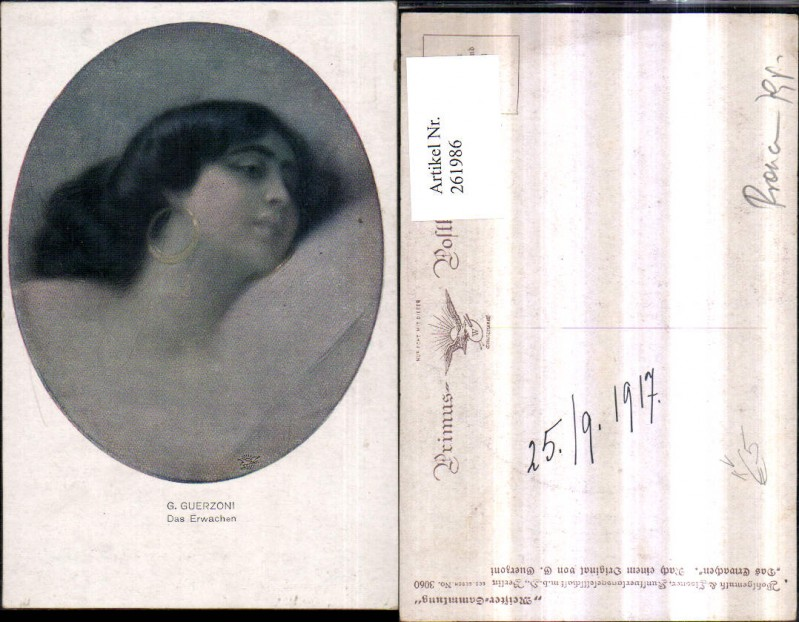 Primus AK 3060 Künstler G. Guerzoni Das Erwachen Frau m. Ohrringe Portrai