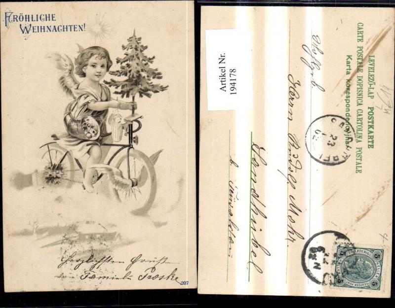 Litho Fahrrad Rad Engel Christbaum Fröhliche Weihnachten