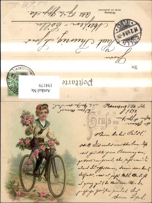 Litho Fahrrad Rad m. Bub Junge Matrosenanzug Blumen Rosen Strauß