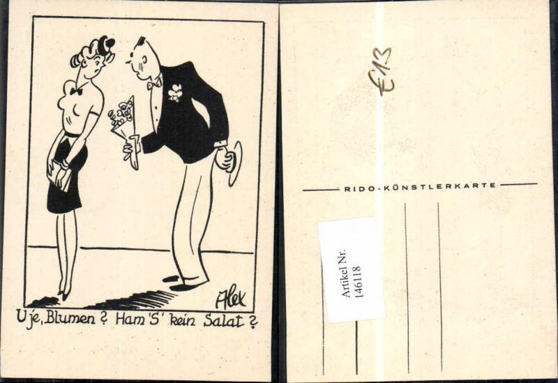 Scherzkarte Juxkarte Humor signiert Alex Mann Blumen Frau