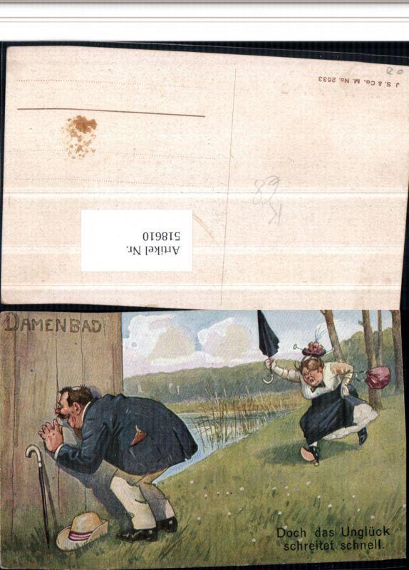 Künstler AK Damenbad Voyeurismus Erotischer Humor Gehstock Erotik
