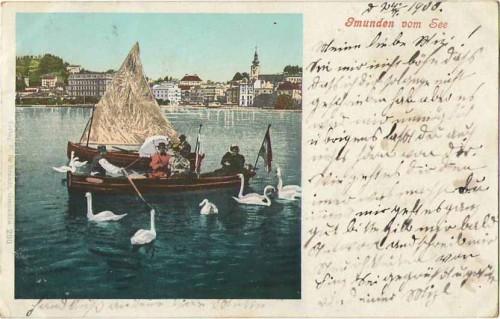 23876;Gmunden am See m. Schwäne Boot 1900