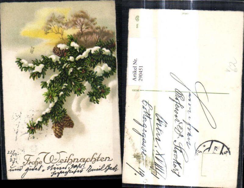 Künstler Ak Weihnachten Tannenzweig Zapfen Schnee Baum i. Hintergrund pub