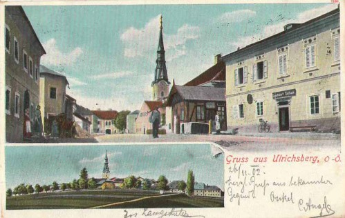 23901;Gruss aus Ulrichsberg Langthalers Gasthaus 1900
