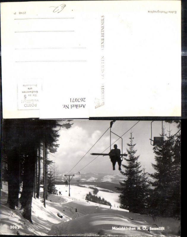 Foto Ak Bergbahn Sessellift Mönichkirchen Skifahrer a. Lift Winteransicht