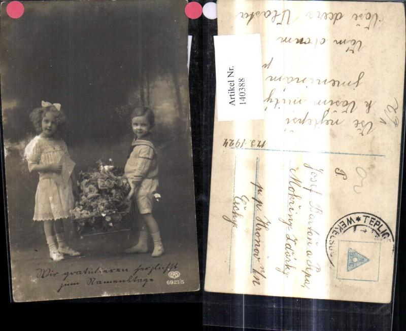 Kinder m. Korb Rosen Blumen Schleife i. Haar Matrosenanzug Brief Kuvert p