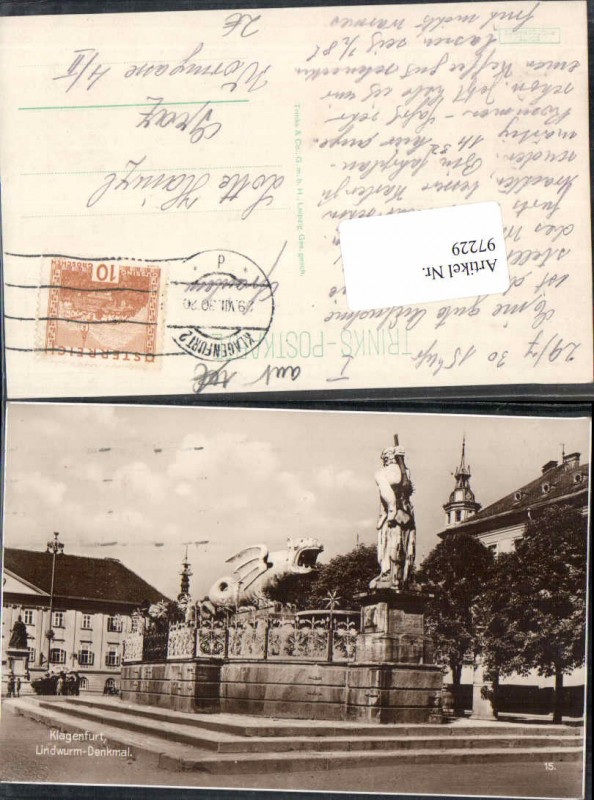 97229;FotoAK Klagenfurt Lindwurm Denkmal 1930 Trinks Co