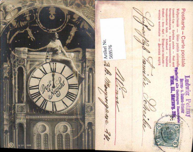 Fotomontage Surrealismus Foto-AK Uhr Neujahr Frau 1906 Prosit Neujahr pub