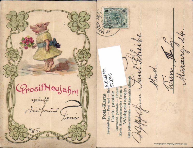 Lithographie Neujahr Klee Jugendstil Ferkel Schwein vermenschlicht