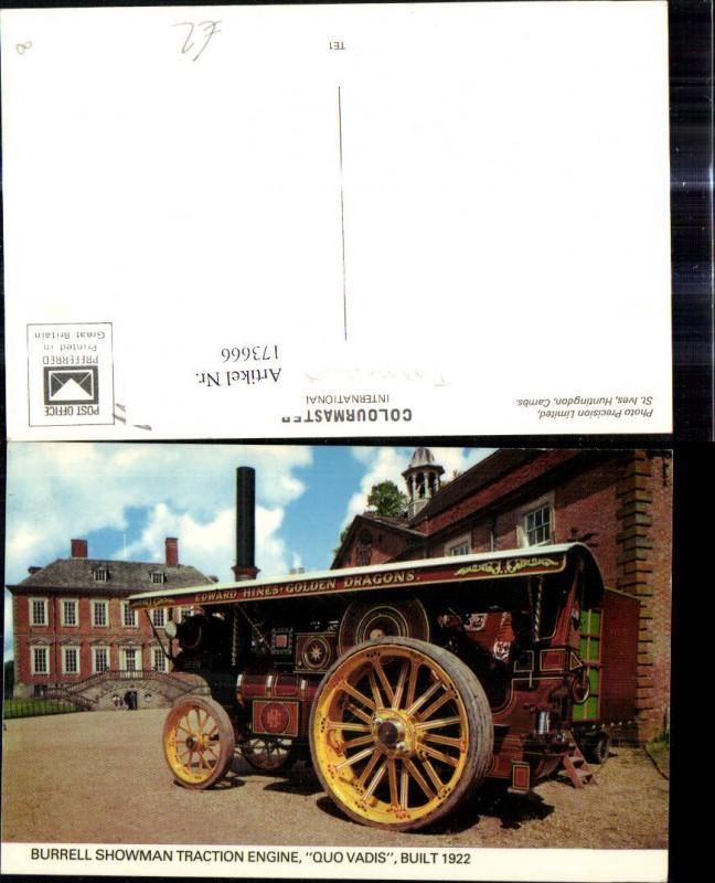 Burrell Showman Traction Engine Quo Vadis 1922 Landwirtschaftliche Maschi