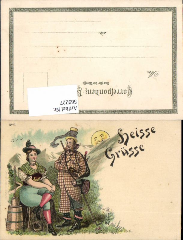 tolle Lithographie Humor Scherz Heisse Grüße Sonne Frau Mann Wanderer