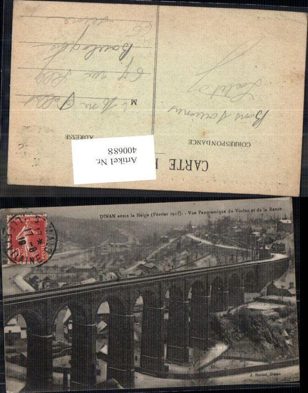 Brücke Dinan sous la Neige Vue Panoramique du Viaduc et de la Rance Viadu