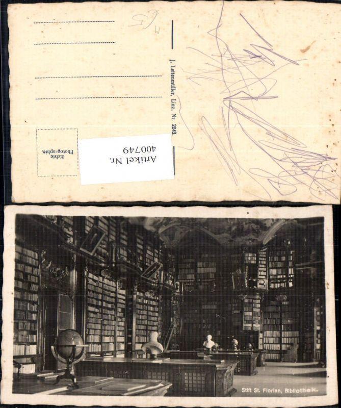 Foto Ak Bibliothek Stift St Florian Bibliothek Globus