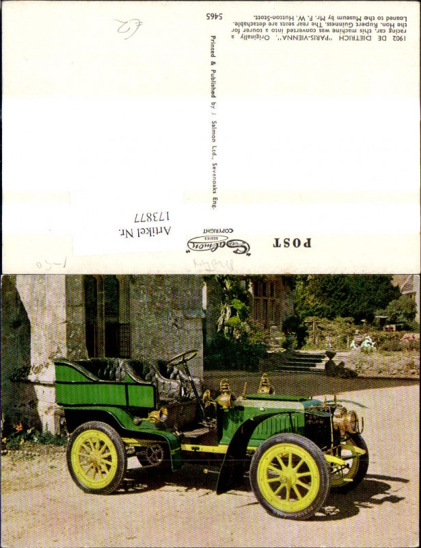 Automobil Oldtimer 1902 De Dietrich Paris Vienna