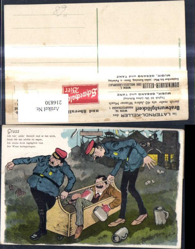 Trunkenbold i. Kiste Uniform getragen Bier Bierkrug Gruß Spruch Scherz Hu