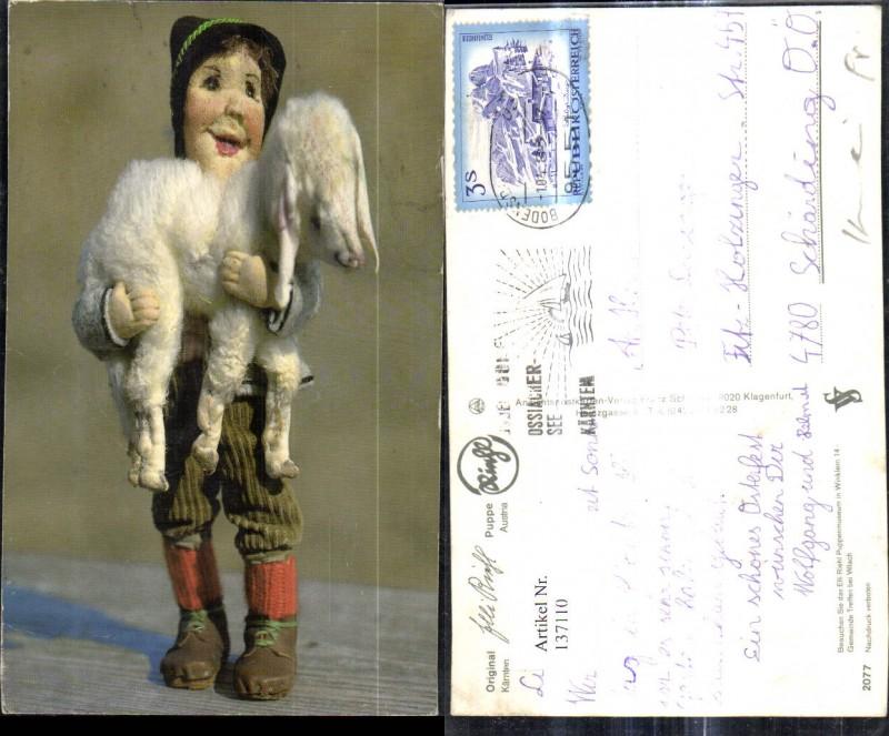 Puppen Elli Riehl 2077 Spielzeug Bub Junge m. Lamm Tracht Hut