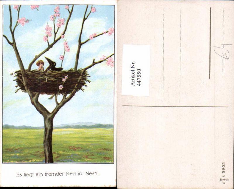 Künstler AK Tier Vogel Krähe Nest Kind Baumblüte