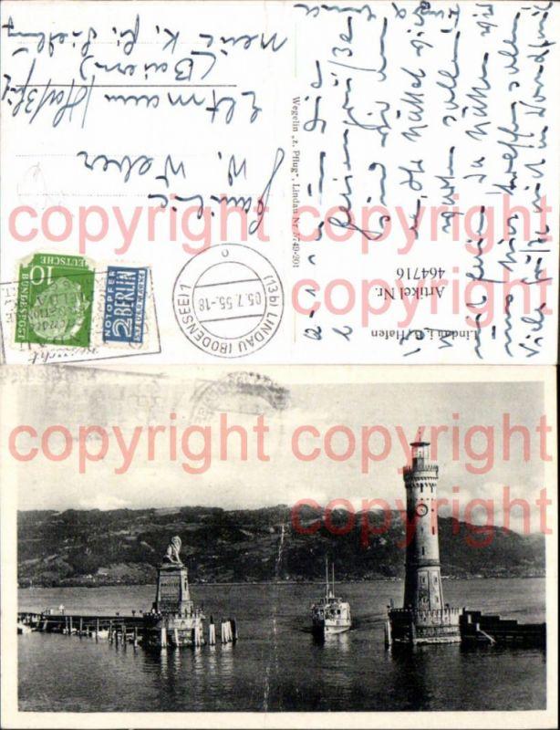 Leuchtturm Lindau a. Bodensee Hafeneinfahrt Schiff Dampfer