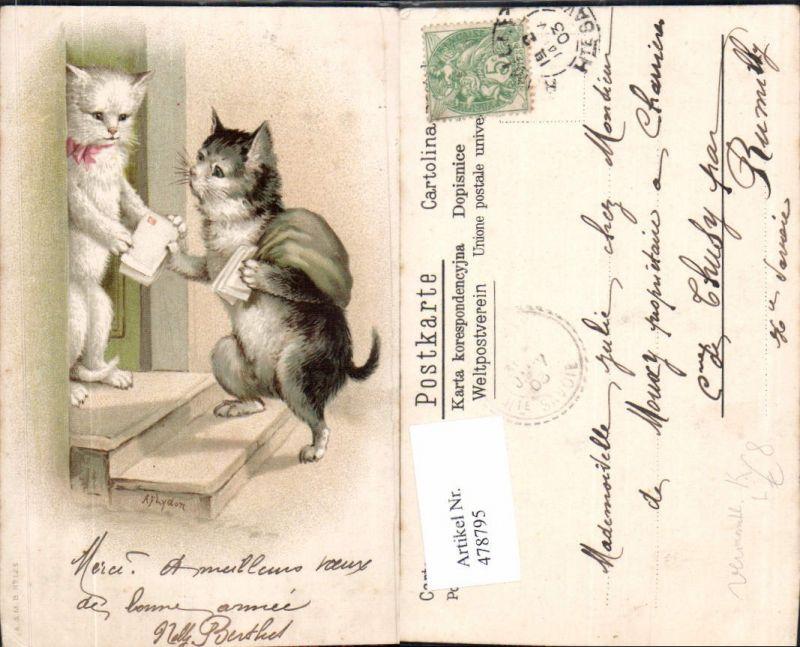 Künstler Litho Vermenschlichte Tiere Katzen als Briefträger Postbote
