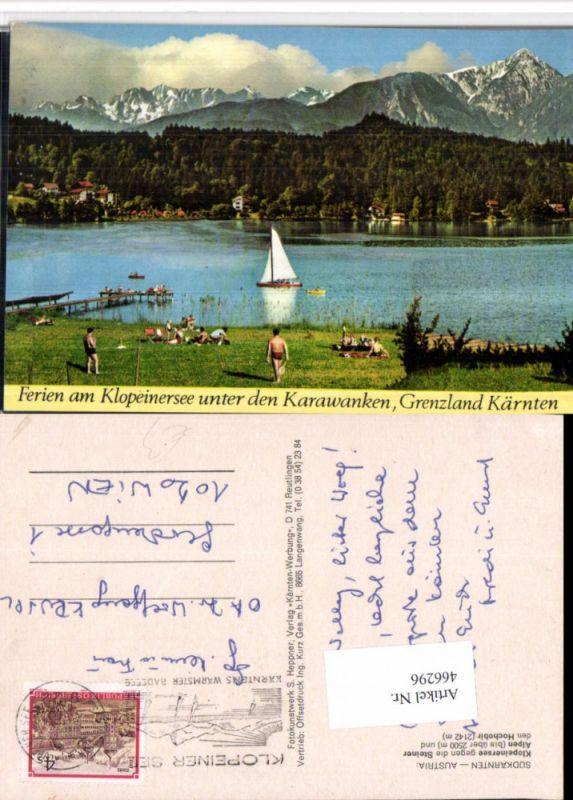 Klopeinersee See b. St. Kanzian geg. Steiner Alpen Bergkulisse