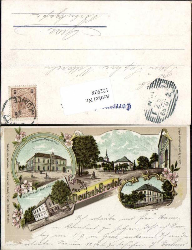 rare Litho Gruss aus Deutsch Brodek Brodek u Konice Schule Geschäftshaus Vereins