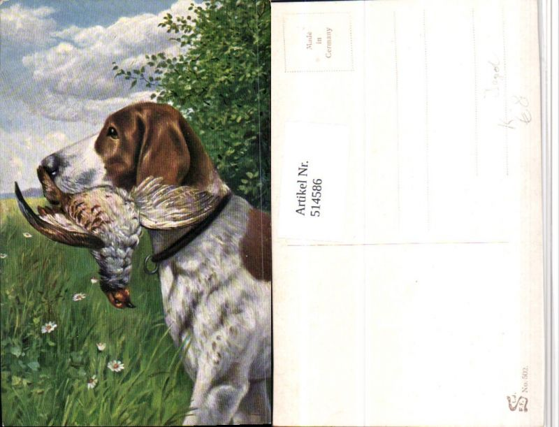 Künstler AK Jagd Jagdhund Hund Fang