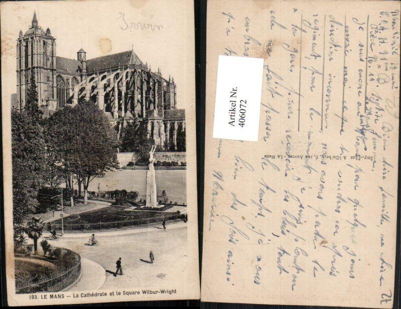 Pays de la Loire Sarthe Le Mans Cathedrale et le Square Wilbur-Wright Kir