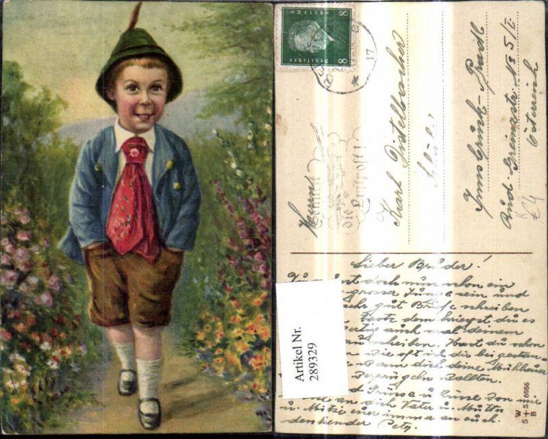 Künstler Ak Kind Bub Junge i. Tracht Hut Federhut Blumen