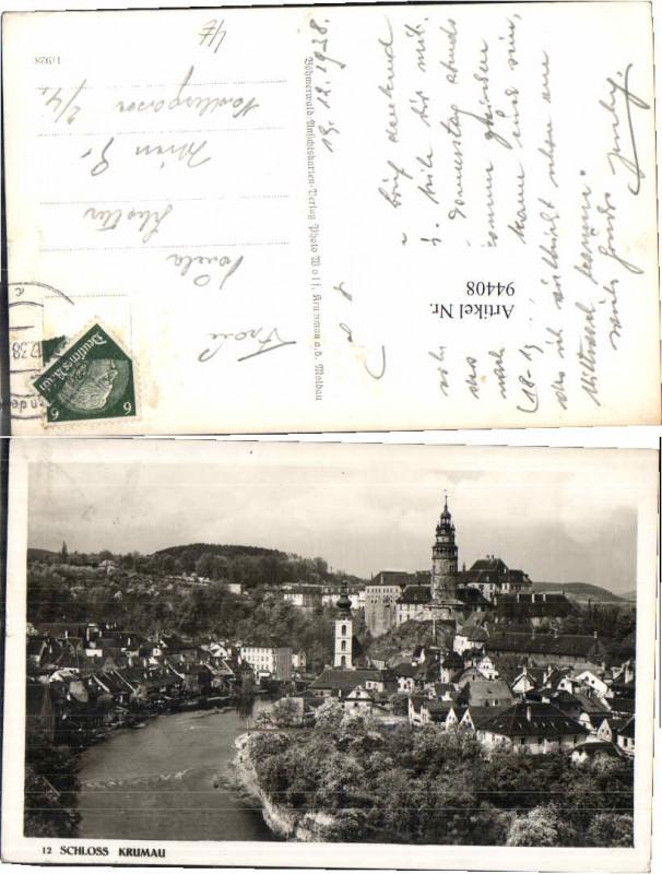 94408;Schloss m. Ort Krumau a.d. Modlau