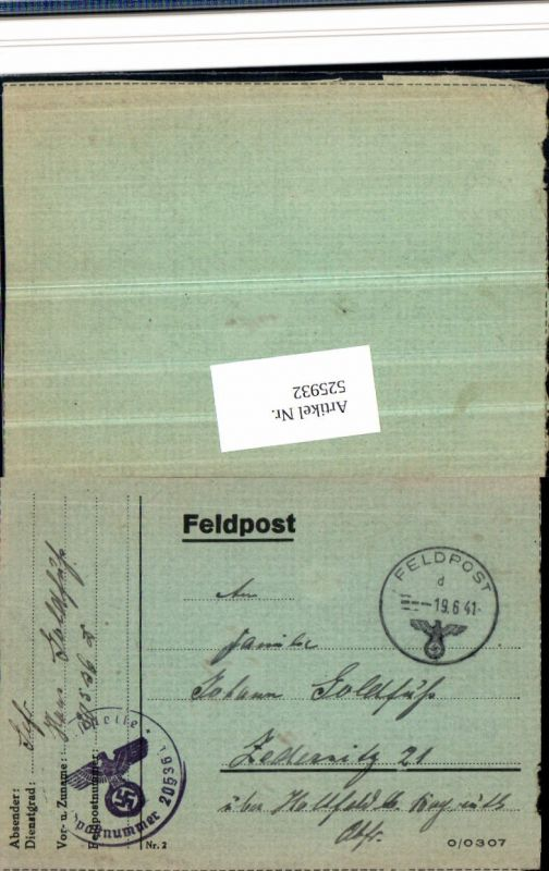 WK 2 Feldpost 20536 Kp. Grenadier Reg. 596 Zedersitz Wonsees Hollfeld